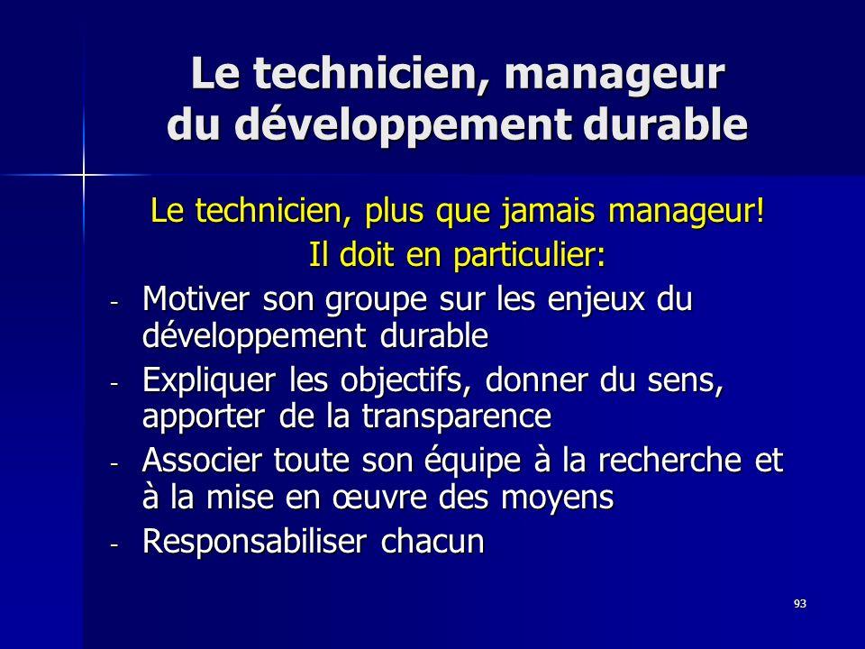 93 Le technicien, manageur du développement durable Le technicien, plus que jamais manageur! Il doit en particulier: - Motiver son groupe sur les enje
