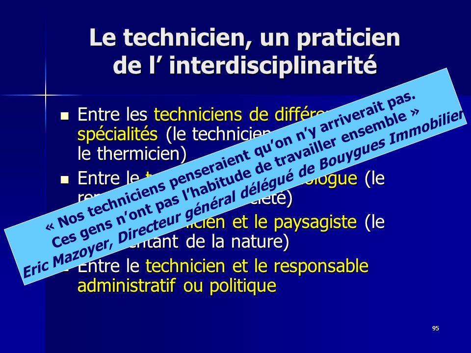 95 Le technicien, un praticien de l interdisciplinarité Entre les techniciens de différentes spécialités (le technicien du gros œuvre et le thermicien) Entre les techniciens de différentes spécialités (le technicien du gros œuvre et le thermicien) Entre le technicien et le sociologue (le représentant de la société) Entre le technicien et le sociologue (le représentant de la société) Entre le technicien et le paysagiste (le représentant de la nature) Entre le technicien et le paysagiste (le représentant de la nature) Entre le technicien et le responsable administratif ou politique Entre le technicien et le responsable administratif ou politique « Nos techniciens penseraient quon ny arriverait pas.