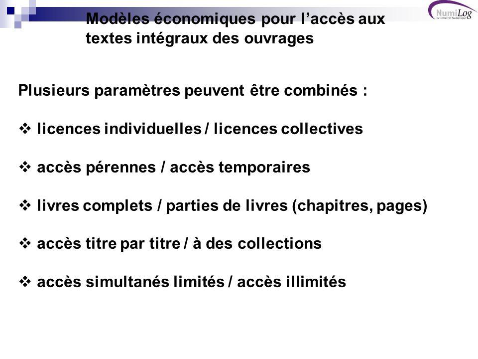 Vente de « licences individuelles » Modèles économiques de librairie Droits pérennesDroits temporaires Type de modèleTitre par titre CollectionsTitre par titre (durée courte) Collections (durée longue) Livres completsL1 vente d exemplaires L2L3 pay per view L4 abonnement Chapitres, partiesL5L6L7L8