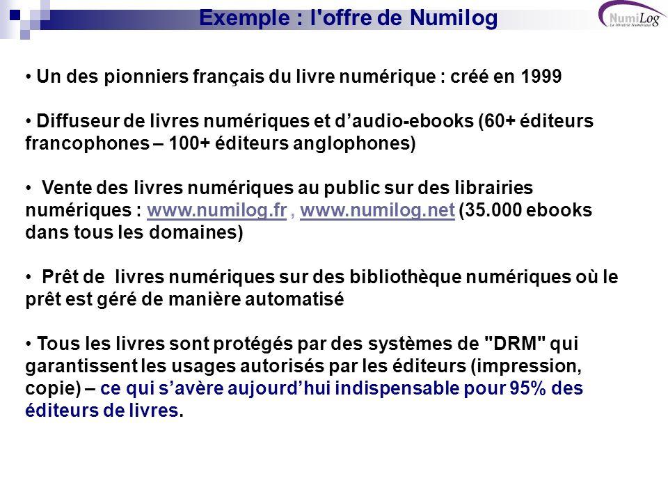 Exemple : l offre de Numilog Un des pionniers français du livre numérique : créé en 1999 Diffuseur de livres numériques et daudio-ebooks (60+ éditeurs francophones – 100+ éditeurs anglophones) Vente des livres numériques au public sur des librairies numériques : www.numilog.fr, www.numilog.net (35.000 ebooks dans tous les domaines)www.numilog.frwww.numilog.net Prêt de livres numériques sur des bibliothèque numériques où le prêt est géré de manière automatisé Tous les livres sont protégés par des systèmes de DRM qui garantissent les usages autorisés par les éditeurs (impression, copie) – ce qui savère aujourdhui indispensable pour 95% des éditeurs de livres.