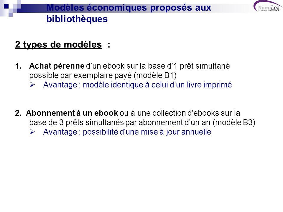 Modèles économiques proposés aux bibliothèques 2 types de modèles : 1.Achat pérenne dun ebook sur la base d1 prêt simultané possible par exemplaire payé (modèle B1) Avantage : modèle identique à celui dun livre imprimé 2.