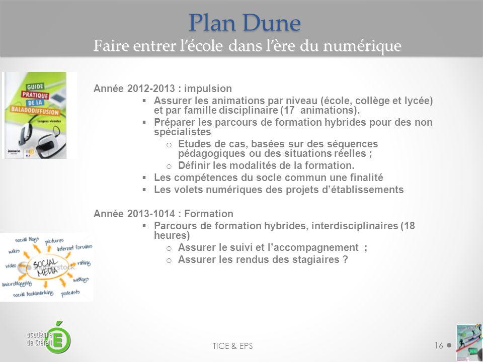 16 TICE & EPS Plan Dune Année 2012-2013 : impulsion Assurer les animations par niveau (école, collège et lycée) et par famille disciplinaire (17 anima