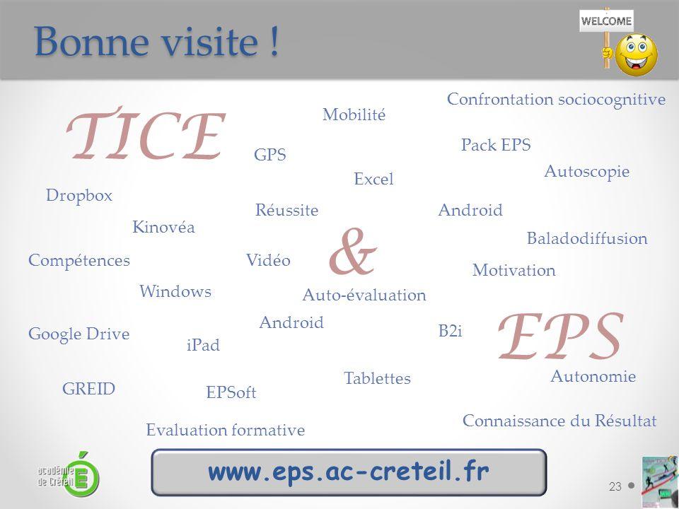 Bonne visite ! TICE & EPS23 TICE Mobilité EPS Réussite Motivation Compétences B2i Autonomie iPad Kinovéa Tablettes Vidéo Autoscopie Connaissance du Ré