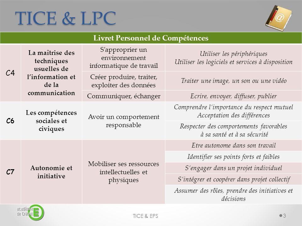 TICE & LPC TICE & EPS 3 Livret Personnel de Compétences C4 La maîtrise des techniques usuelles de linformation et de la communication Sapproprier un e