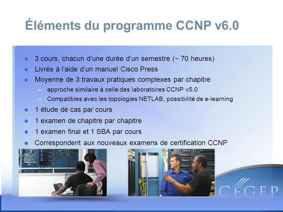 11 © 2011 - All rights reserved by the Cégep de lOutaouais 3 cours, chacun dune durée dun semestre (~ 70 heures) Livrés à laide dun manuel Cisco Press