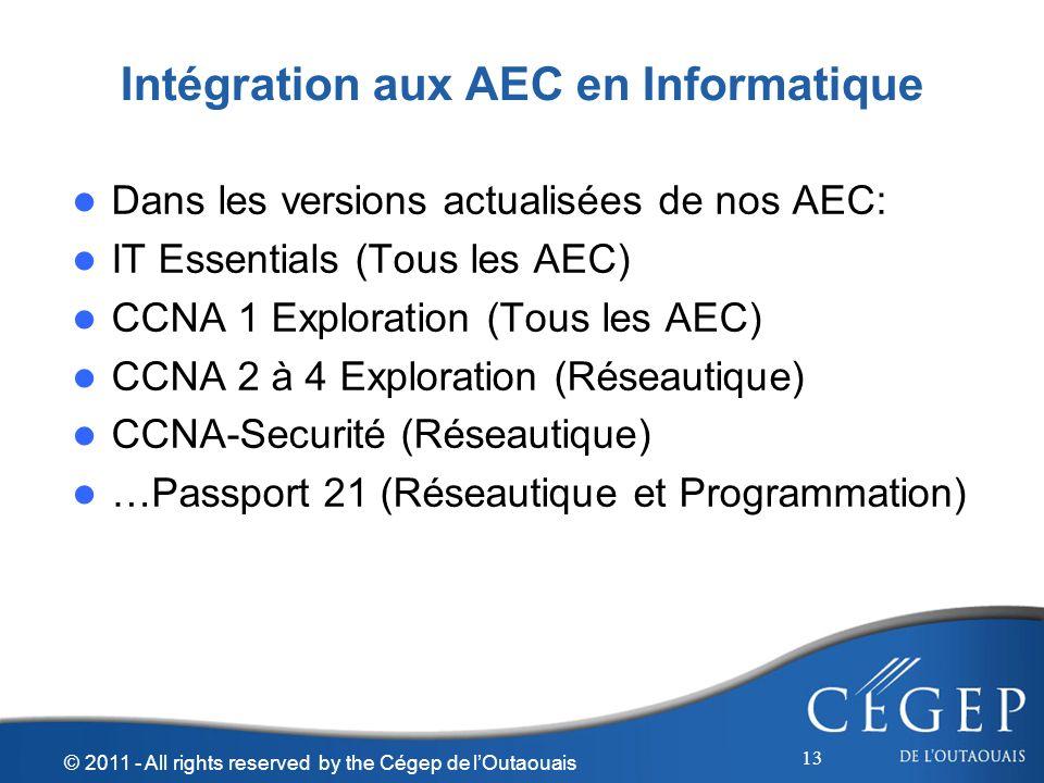 Intégration aux AEC en Informatique Dans les versions actualisées de nos AEC: IT Essentials (Tous les AEC) CCNA 1 Exploration (Tous les AEC) CCNA 2 à