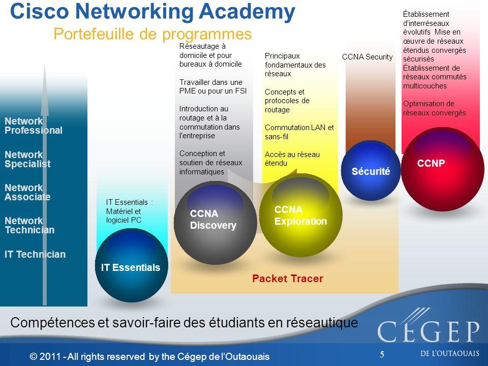 5 Cisco Networking Academy Portefeuille de programmes Compétences et savoir-faire des étudiants en réseautique Réseautage à domicile et pour bureaux à