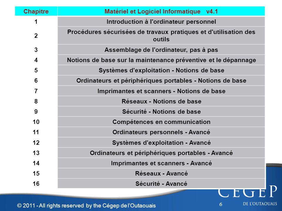 6 © 2011 - All rights reserved by the Cégep de lOutaouais ChapitreMatériel et Logiciel Informatique v4.1 1Introduction à l'ordinateur personnel 2 Proc