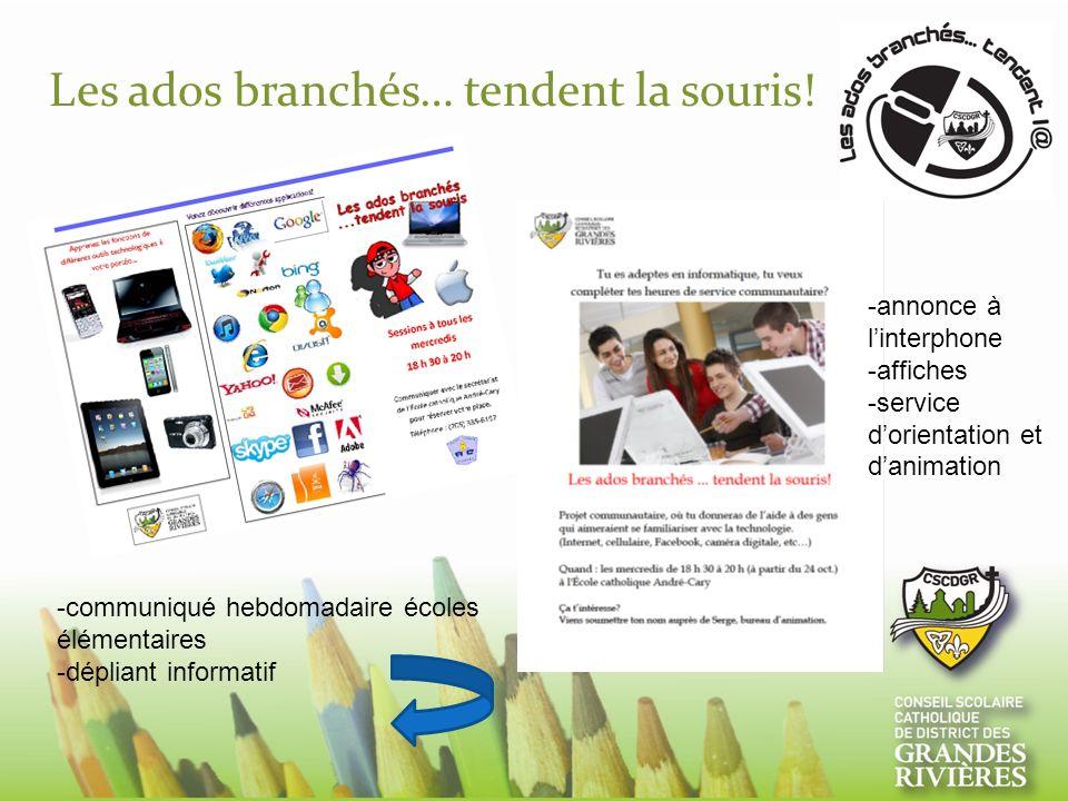 Les ados branchés… tendent la souris! -communiqué hebdomadaire écoles élémentaires -dépliant informatif -annonce à linterphone -affiches -service dori
