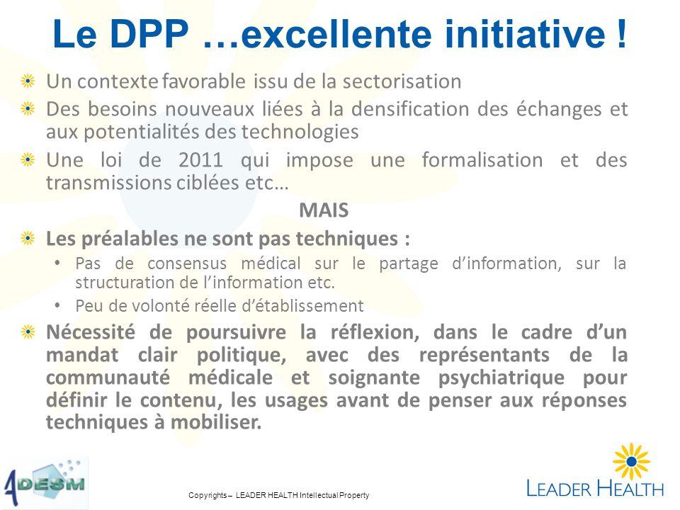 Copyrights – LEADER HEALTH Intellectual Property Le DPP …excellente initiative ! Un contexte favorable issu de la sectorisation Des besoins nouveaux l