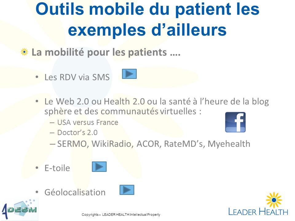 Copyrights – LEADER HEALTH Intellectual Property Outils mobile du patient les exemples dailleurs La mobilité pour les patients …. Les RDV via SMS Le W