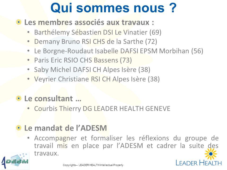 Copyrights – LEADER HEALTH Intellectual Property Qui sommes nous ? Les membres associés aux travaux : Barthélemy Sébastien DSI Le Vinatier (69) Demany