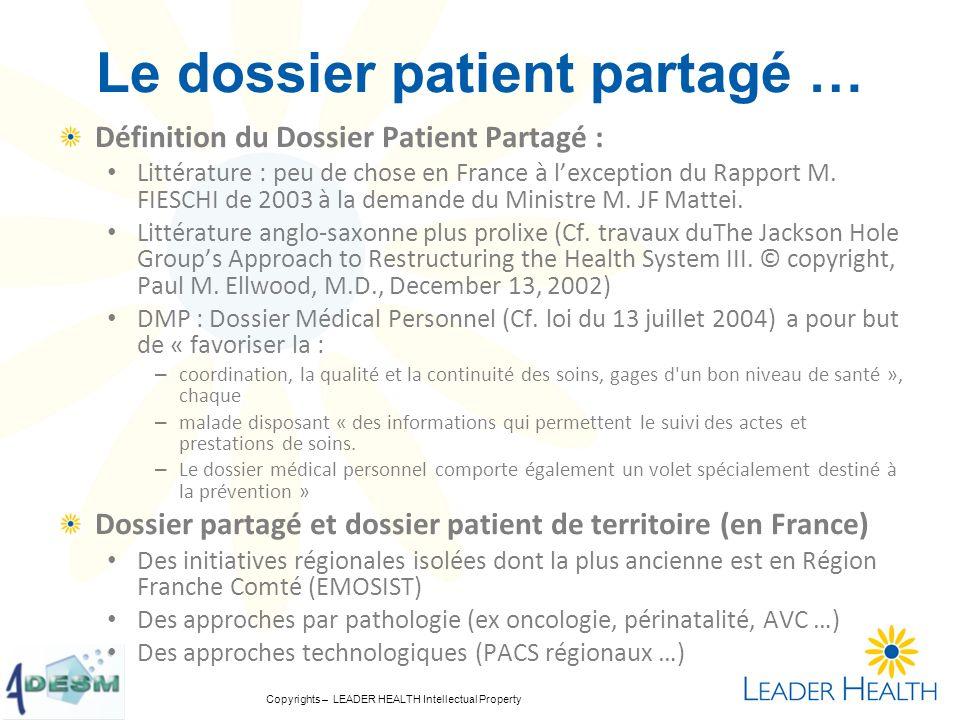 Copyrights – LEADER HEALTH Intellectual Property Le dossier patient partagé … Définition du Dossier Patient Partagé : Littérature : peu de chose en Fr