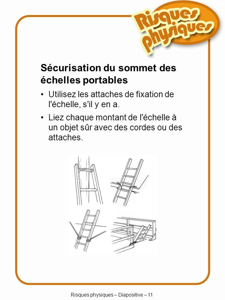 Risques physiques – Diapositive – 11 Utilisez les attaches de fixation de l échelle, s il y en a.