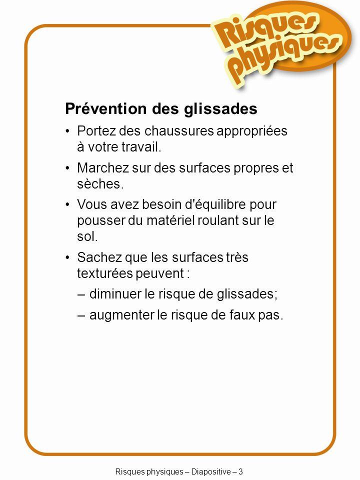 Risques physiques – Diapositive – 44 Contrôler les risques Un dispositif de protection fixe est approprié quand : il n est pas nécessaire d accéder à une partie de la machine; un boîtier protège de façon permanente.