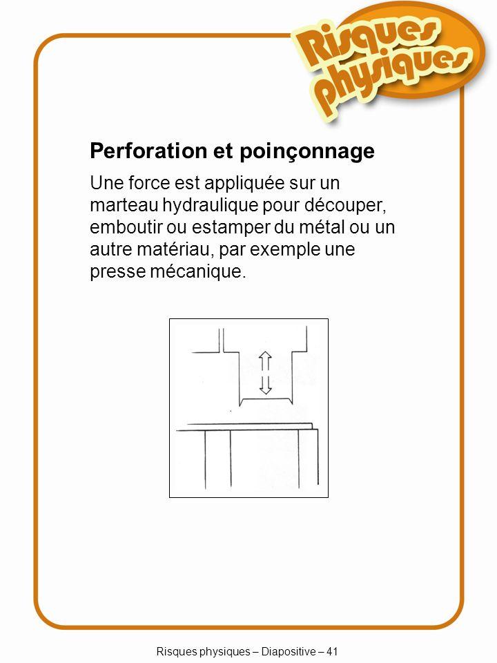 Risques physiques – Diapositive – 41 Perforation et poinçonnage Une force est appliquée sur un marteau hydraulique pour découper, emboutir ou estamper du métal ou un autre matériau, par exemple une presse mécanique.