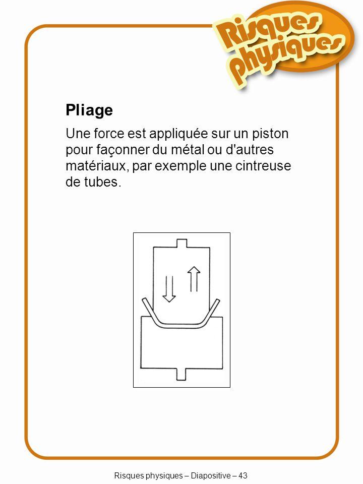 Risques physiques – Diapositive – 43 Pliage Une force est appliquée sur un piston pour façonner du métal ou d autres matériaux, par exemple une cintreuse de tubes.