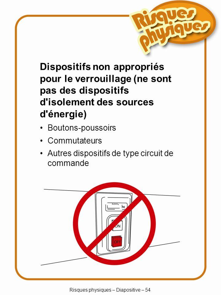 Risques physiques – Diapositive – 54 Dispositifs non appropriés pour le verrouillage (ne sont pas des dispositifs d isolement des sources d énergie) Boutons-poussoirs Commutateurs Autres dispositifs de type circuit de commande