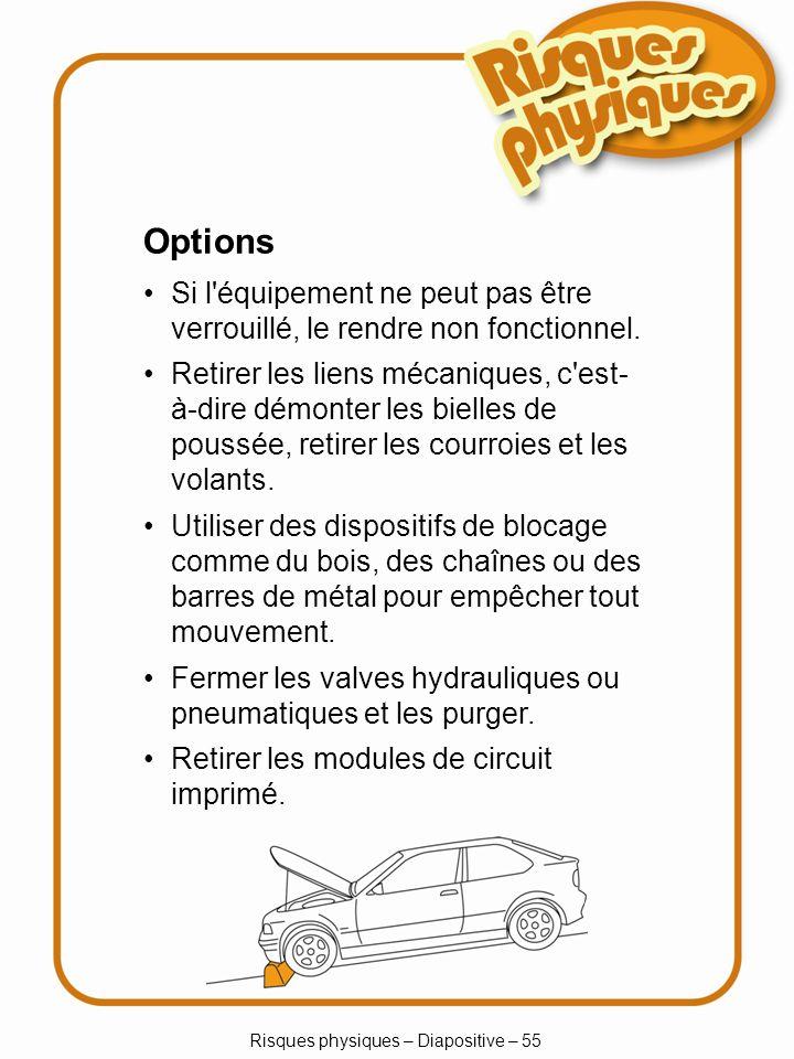 Risques physiques – Diapositive – 55 Options Si l équipement ne peut pas être verrouillé, le rendre non fonctionnel.