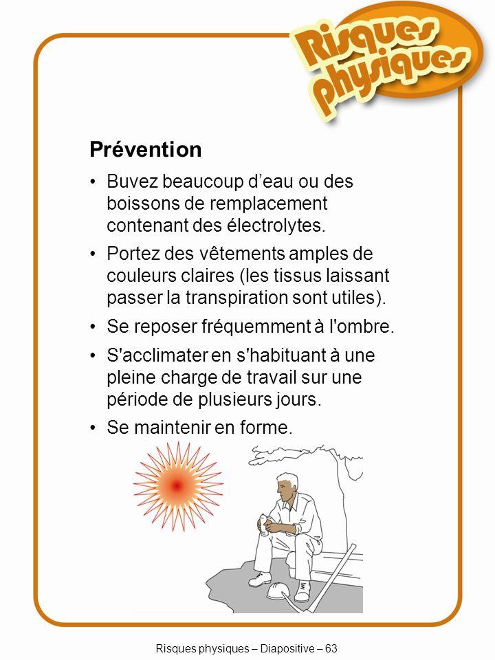 Risques physiques – Diapositive – 63 Prévention Buvez beaucoup deau ou des boissons de remplacement contenant des électrolytes.