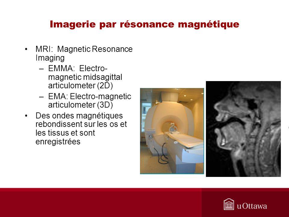 Imagerie par résonance magnétique MRI: Magnetic Resonance Imaging –EMMA: Electro- magnetic midsagittal articulometer (2D) –EMA: Electro-magnetic articulometer (3D) Des ondes magnétiques rebondissent sur les os et les tissus et sont enregistrées