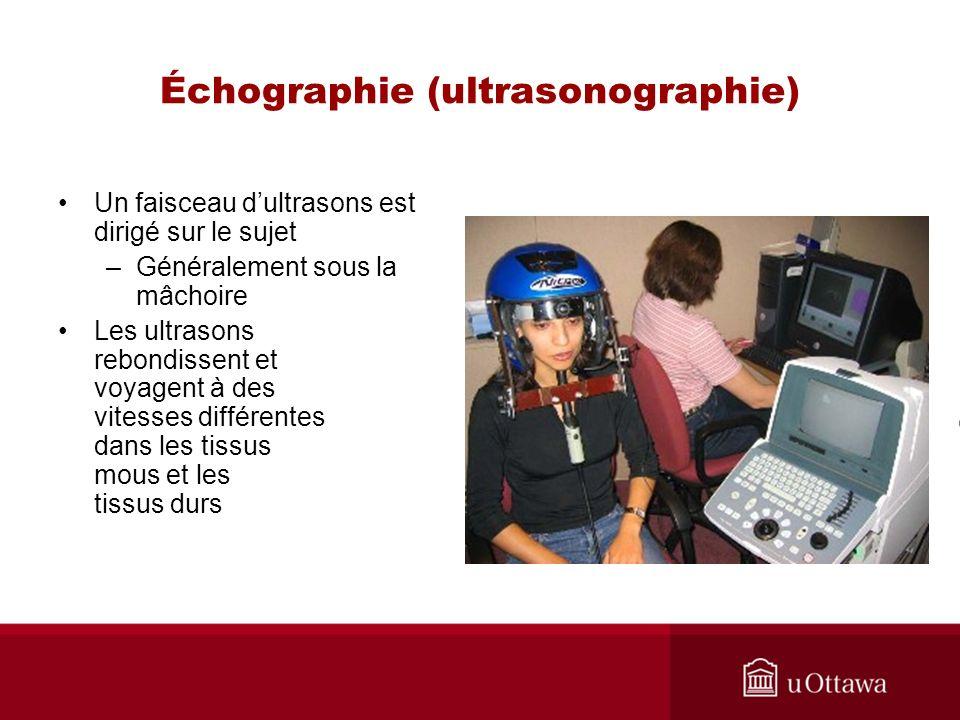 Échographie (ultrasonographie) Un faisceau dultrasons est dirigé sur le sujet –Généralement sous la mâchoire Les ultrasons rebondissent et voyagent à des vitesses différentes dans les tissus mous et les tissus durs