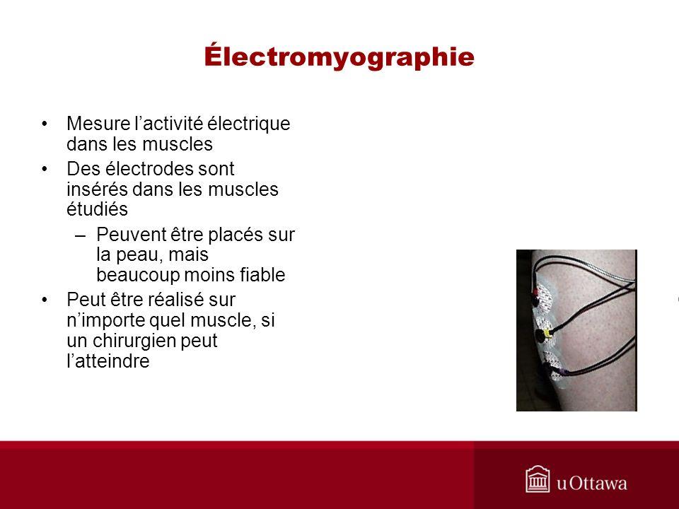 Électromyographie Mesure lactivité électrique dans les muscles Des électrodes sont insérés dans les muscles étudiés –Peuvent être placés sur la peau, mais beaucoup moins fiable Peut être réalisé sur nimporte quel muscle, si un chirurgien peut latteindre