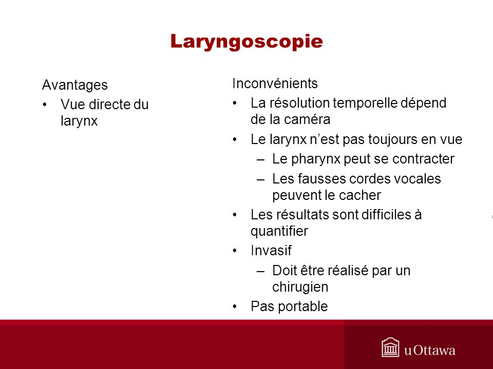 Laryngoscopie Avantages Vue directe du larynx Inconvénients La résolution temporelle dépend de la caméra Le larynx nest pas toujours en vue –Le pharynx peut se contracter –Les fausses cordes vocales peuvent le cacher Les résultats sont difficiles à quantifier Invasif –Doit être réalisé par un chirugien Pas portable