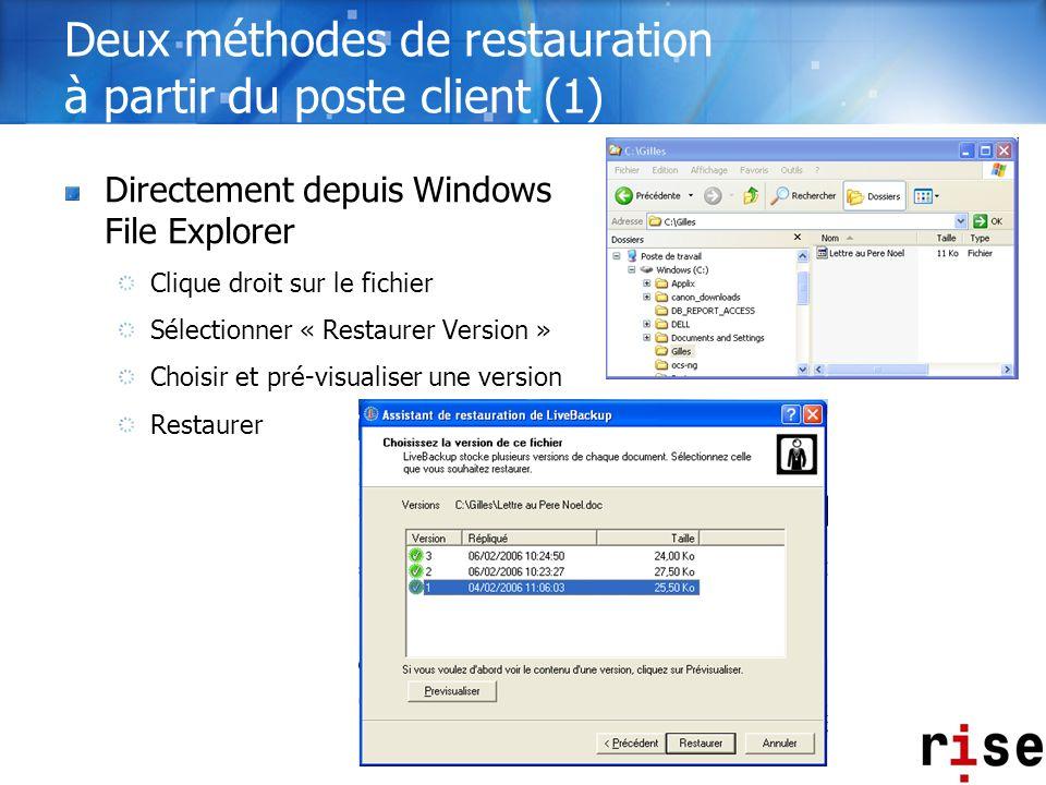 Deux méthodes de restauration à partir du poste client (1) Directement depuis Windows File Explorer Clique droit sur le fichier Sélectionner « Restaur