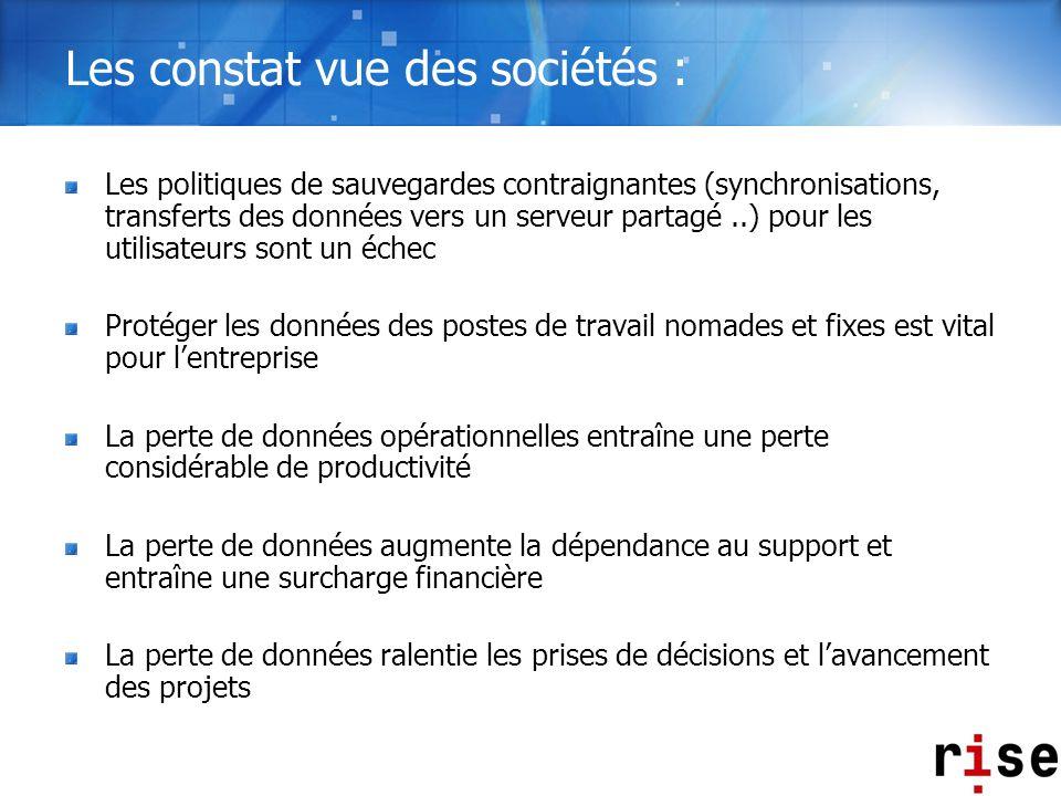 Les constat vue des sociétés : Les politiques de sauvegardes contraignantes (synchronisations, transferts des données vers un serveur partagé..) pour