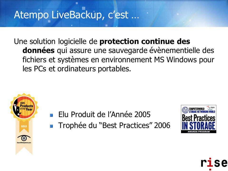 Atempo LiveBackup, cest … Elu Produit de lAnnée 2005 Trophée du Best Practices 2006 Une solution logicielle de protection continue des données qui ass