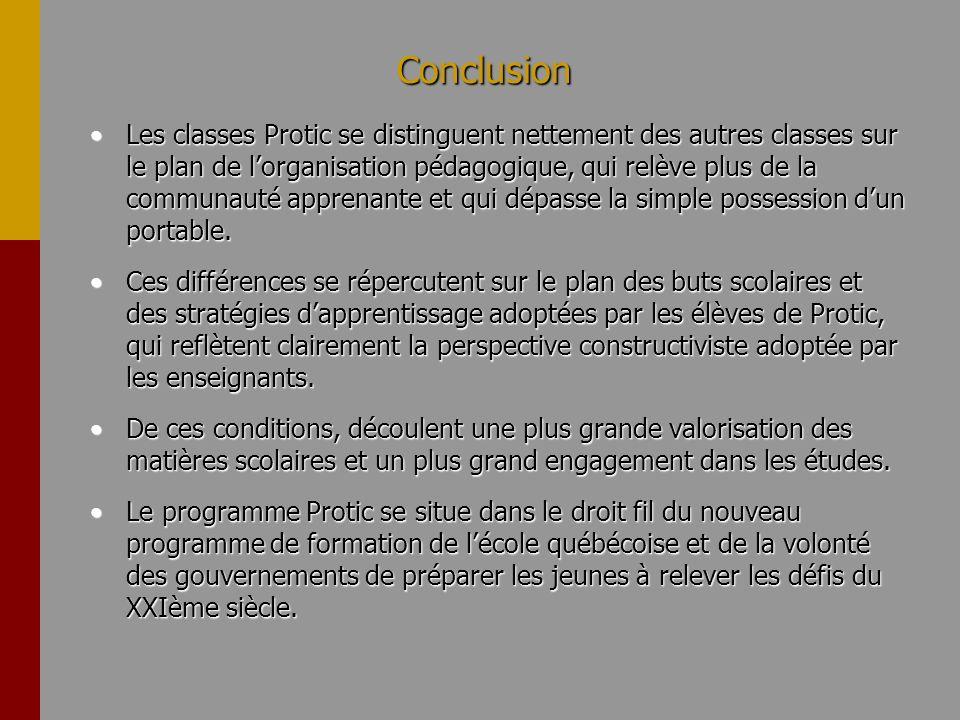 Conclusion Les classes Protic se distinguent nettement des autres classes sur le plan de lorganisation pédagogique, qui relève plus de la communauté a