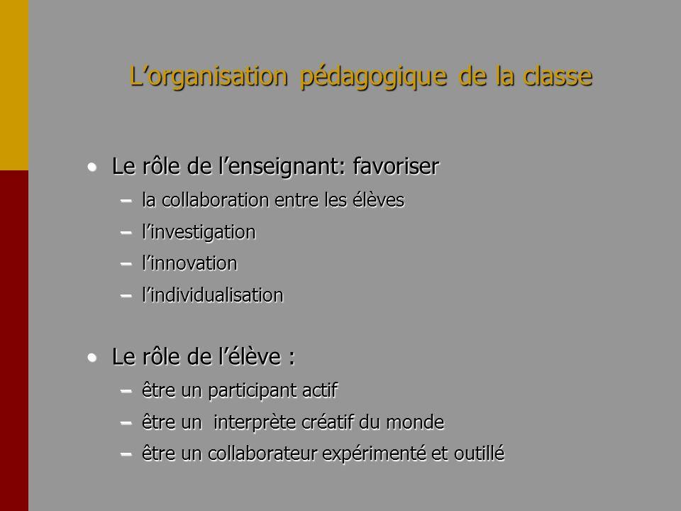Lorganisation pédagogique de la classe Le rôle de lenseignant: favoriserLe rôle de lenseignant: favoriser –la collaboration entre les élèves –linvesti