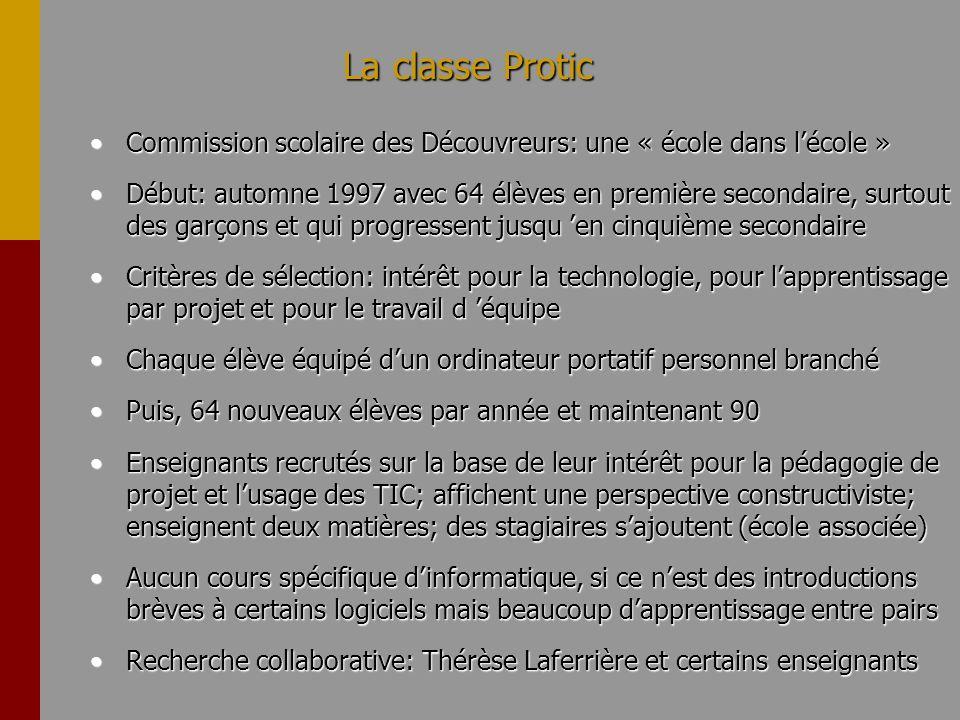 La classe Protic Commission scolaire des Découvreurs: une « école dans lécole »Commission scolaire des Découvreurs: une « école dans lécole » Début: a