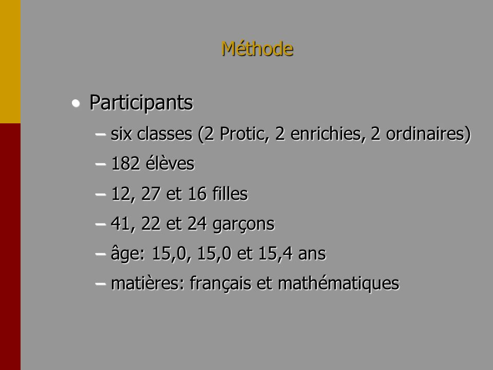 Méthode ParticipantsParticipants –six classes (2 Protic, 2 enrichies, 2 ordinaires) –182 élèves –12, 27 et 16 filles –41, 22 et 24 garçons –âge: 15,0, 15,0 et 15,4 ans –matières: français et mathématiques