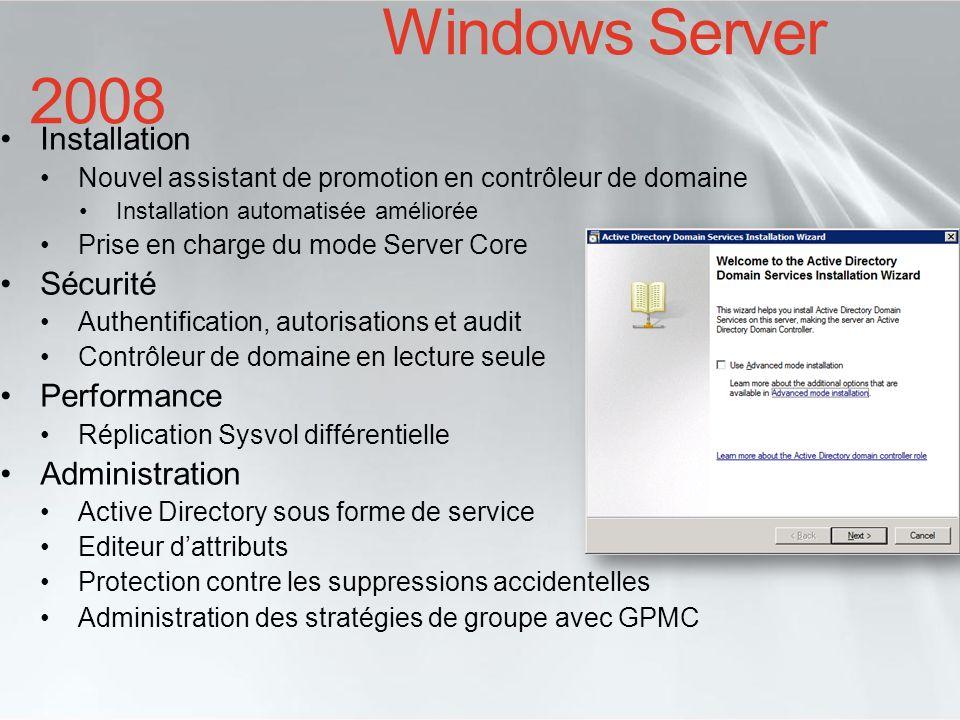 Support du server core Utilise les crédentiels de lutilisateur connecté pour la promotion Sélection des rôles : DNS (défaut), GC (défaut), RODC Mode avancé (/adv) Sélection du site (par défaut : auto-détection) Réplication AD durant la promotion: DC particulier, nimporte quel DC, média (sauvegarde AD) Auto-configuration du serveur DNS Auto-configuration du client DNS Création et configuration des délégations DNS Active Directory Domain Services DCPROMO dans Windows Server 2008