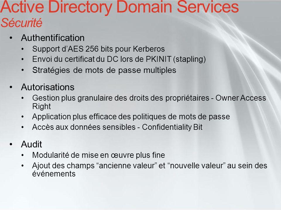 Active Directory Domain Services Sécurité Authentification Support dAES 256 bits pour Kerberos Envoi du certificat du DC lors de PKINIT (stapling) Str