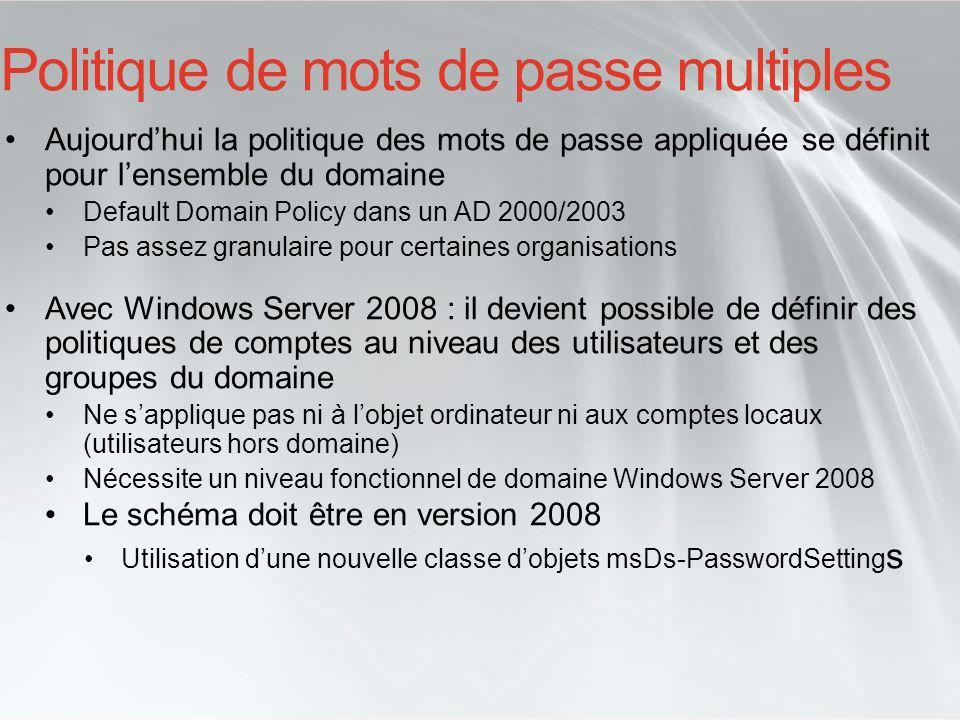 Politique de mots de passe multiples Aujourdhui la politique des mots de passe appliquée se définit pour lensemble du domaine Default Domain Policy da