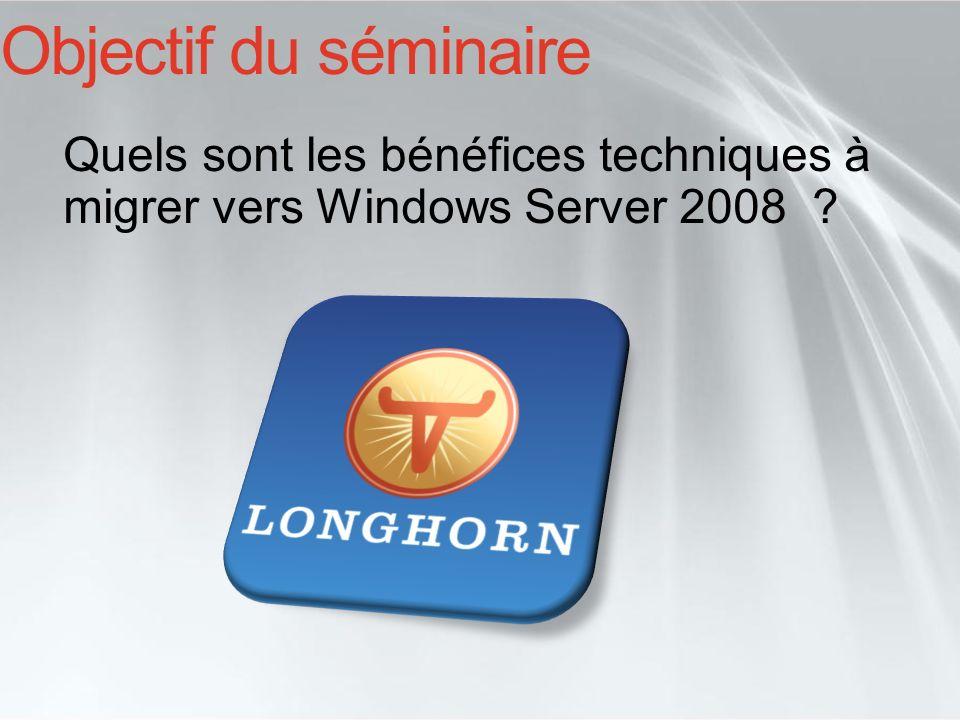 Les démonstrations et informations données dans cette présentation, se basent sur une version préliminaire (Beta) de Windows Server 2008, les informations présentées peuvent être soumises à changement et ce jusquà la mise à disposition commerciale du logiciel en version finale.