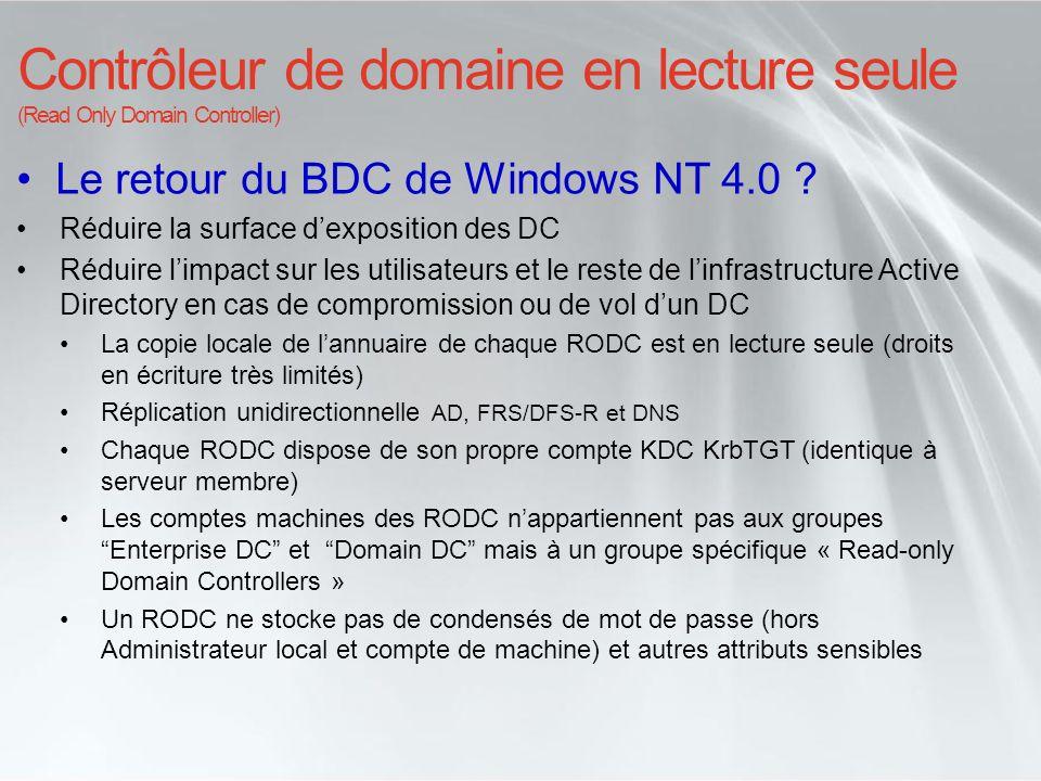 Le retour du BDC de Windows NT 4.0 ? Réduire la surface dexposition des DC Réduire limpact sur les utilisateurs et le reste de linfrastructure Active