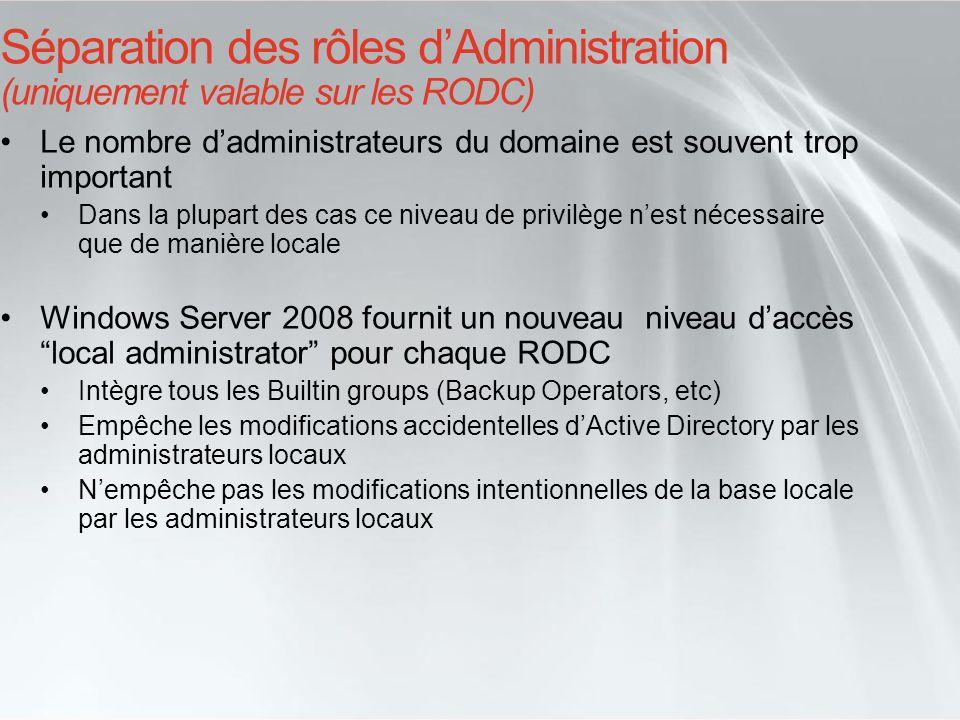 Séparation des rôles dAdministration (uniquement valable sur les RODC) Le nombre dadministrateurs du domaine est souvent trop important Dans la plupar