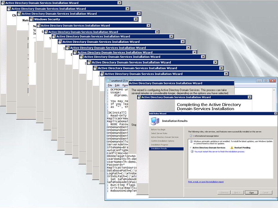 Mise en œuvre en environnement Active Directory 2003 Sassurer que la forêt est en mode fonctionnel 2003 Utilisation de la réplication en mode LVR Les RODC nécessitent la délégation contrainte Kerberos Au minimum un DC en lecture-écriture doit être en version 2008 Le DC hébergeant le rôle FSMO PDC Emulateur doit être en version 2008 ADPREP /RodcPrep Nouveau commutateur permettant de définir les ACL sur les partitions DNS pour la réplication RODC ADPREP /DomainPrep Dans chaque domaine de la forêt si un ou plusieurs RODC doivent héberger le Global Catalog ADPREP /ForestPrep Mise à jour du schéma Active Directory Domain Services Read-Only DC - Déploiement