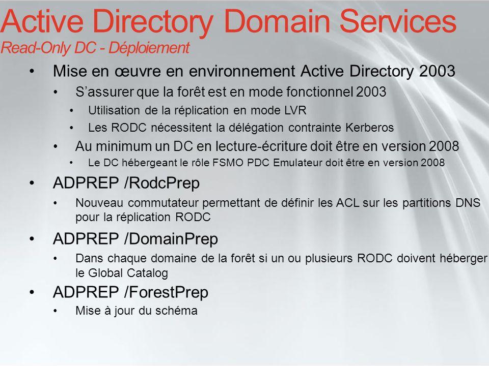 Mise en œuvre en environnement Active Directory 2008 Le premier DC de la forêt ainsi que de chaque domaine ne peut pas être un RODC Limitations Les FSMO ne peuvent pas être des RODC Les serveurs tête de pont (Bridge-head) ne peuvent pas être des RODC Coexistence DC Windows Server 2003 et 2008 en lecture-écriture et RODC peuvent coexister au sein du même site Plusieurs RODC dun même domaine ou de différents domaines peuvent coexister au sein du même site Active Directory Domain Services Read-Only DC - Déploiement