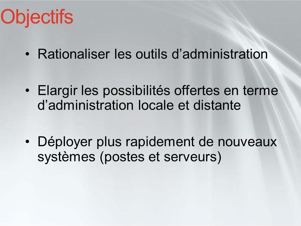Objectifs Rationaliser les outils dadministration Elargir les possibilités offertes en terme dadministration locale et distante Déployer plus rapideme