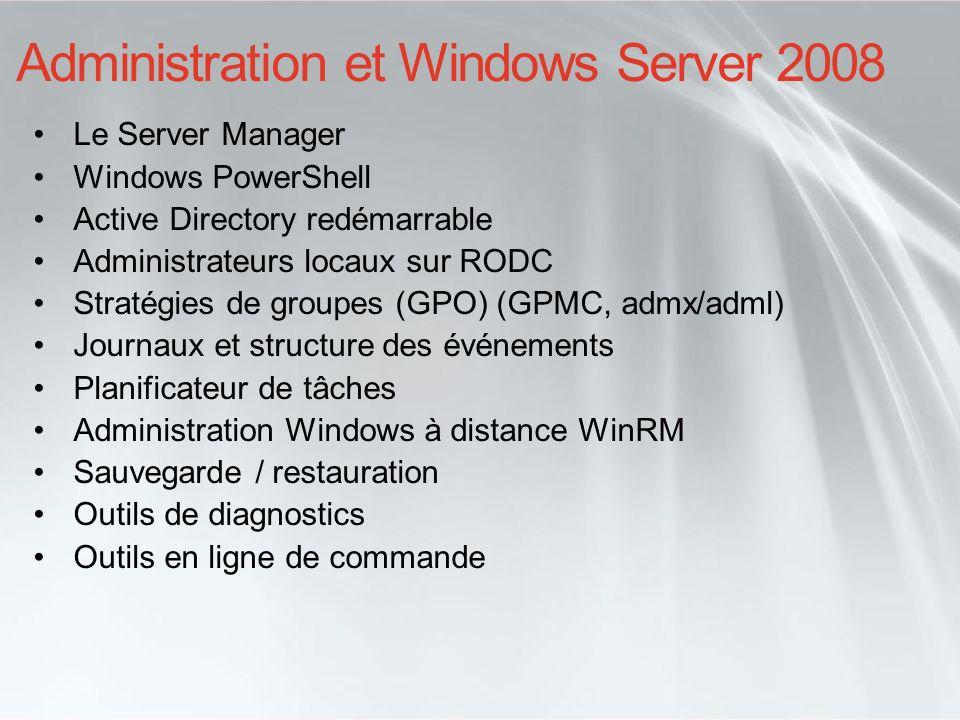 Administration et Windows Server 2008 Le Server Manager Windows PowerShell Active Directory redémarrable Administrateurs locaux sur RODC Stratégies de