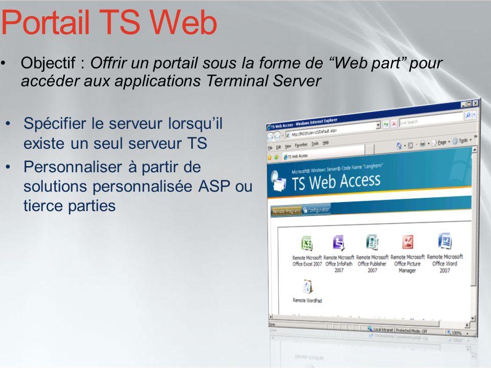 Portail TS Web Objectif : Offrir un portail sous la forme de Web part pour accéder aux applications Terminal Server Spécifier le serveur lorsquil exis