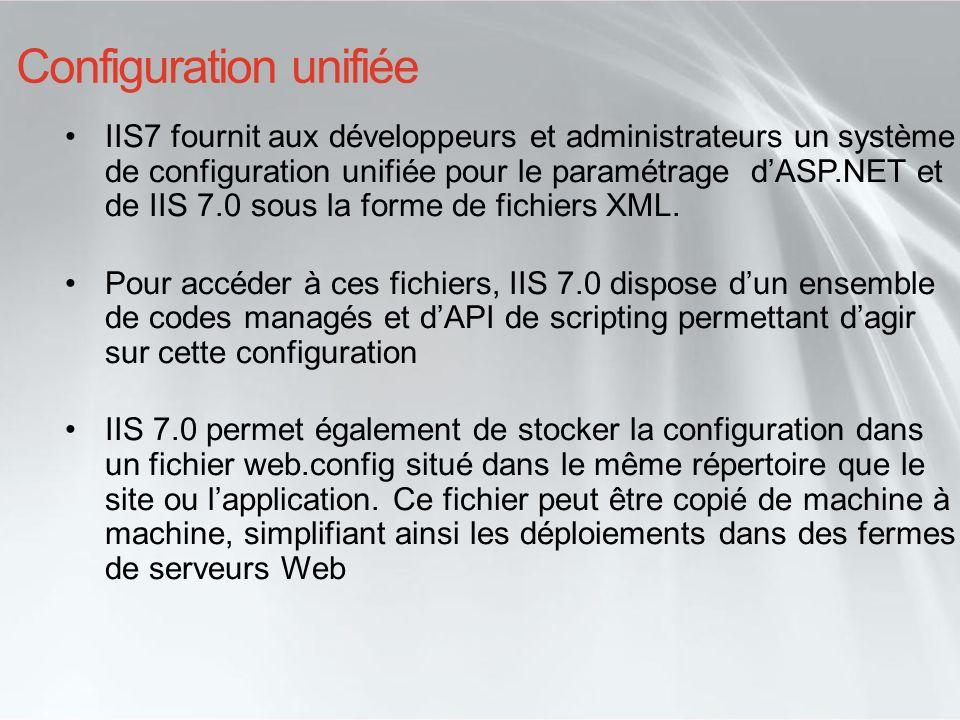 Configuration unifiée IIS7 fournit aux développeurs et administrateurs un système de configuration unifiée pour le paramétrage dASP.NET et de IIS 7.0