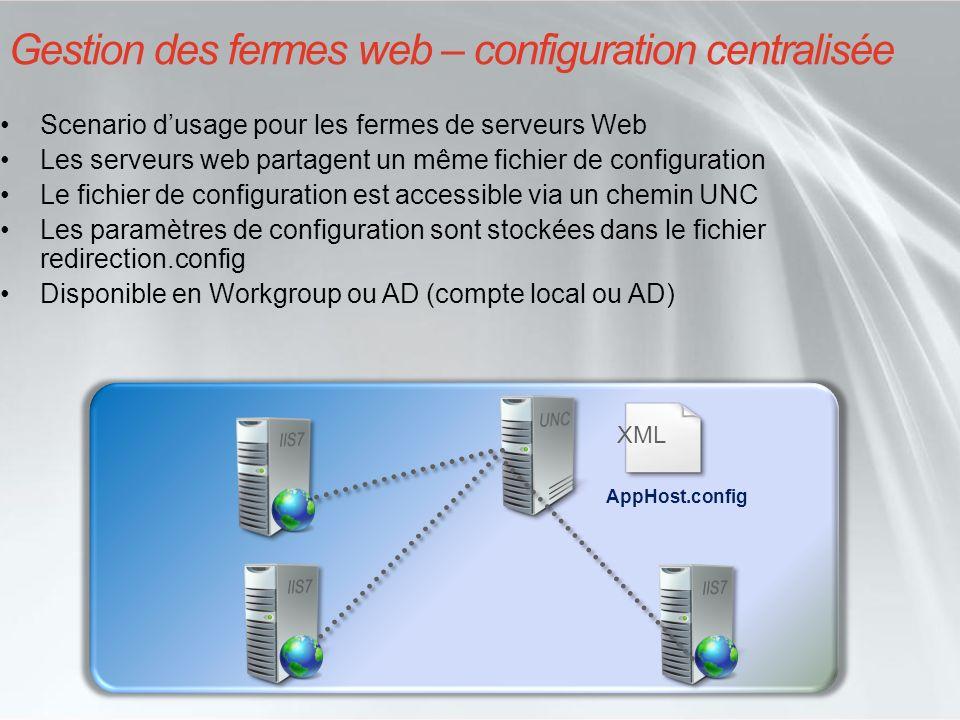 IIS 7- Administration Plusieurs méthodes Console Internet Information Server Manager Outil en ligne de commande : Appcmd.exe Edition manuelle des fichiers XML de configuration API Administration (pour développeurs.Net) API Administration scriptée (pour administrateurs développeurs WMI)