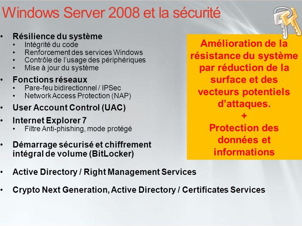Protection des données avec BitLocker Drive Encryption BitLocker est un moyen de chiffrer intégralement un volume sous Windows Vista et Longhorn Lobjectif est de se protéger linformation contenue sur le disque en cas de vol ou dattaque « Offline » Combiné avec lutilisation dun TPM (version 1.2c et plus) En complément du RODC, BitLocker aide à réduire la surface dattaque des serveurs hébergés dans des locaux moins sécurisés que des centres de données