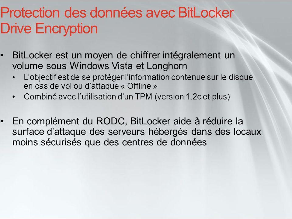 Protection des données avec BitLocker Drive Encryption BitLocker est un moyen de chiffrer intégralement un volume sous Windows Vista et Longhorn Lobje